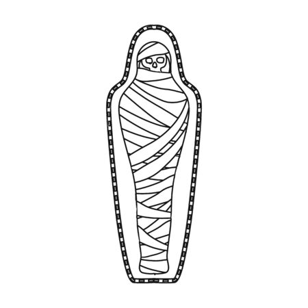 Ancient mummy icon in outline style isolated on white background. Ancient Egypt symbol vector illustration.