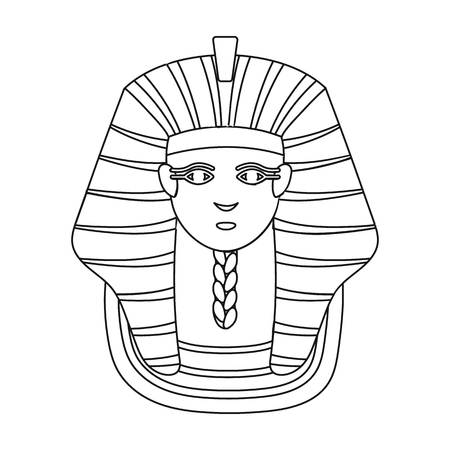 Pharaohs golden mask icon in outline style isolated on white background. Ancient Egypt symbol vector illustration. Illustration