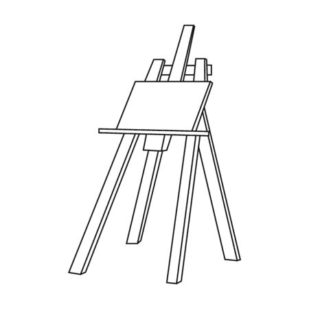 Easel with masterpiece icon in outline style isolated on white background. Artist and drawing symbol vector illustration.