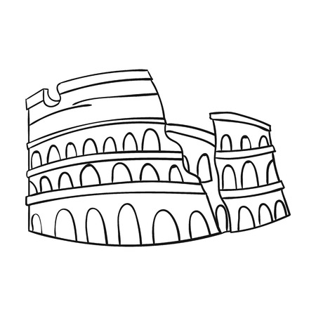 flavian: Colosseum in Italy icon in outline style isolated on white background. Italy country symbol vector illustration.