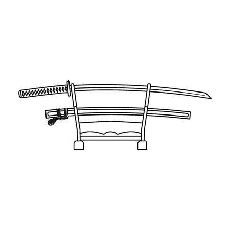 katana: Katana icon in outline style isolated on white background. Japan symbol vector illustration.