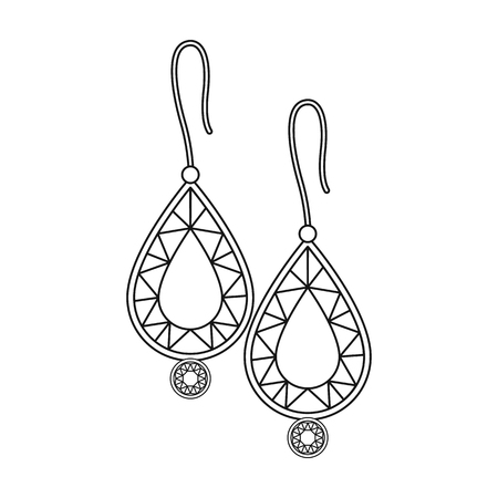 Earrings with gems icon in outline style isolated on white background. Jewelry and accessories symbol vector illustration. 矢量图像