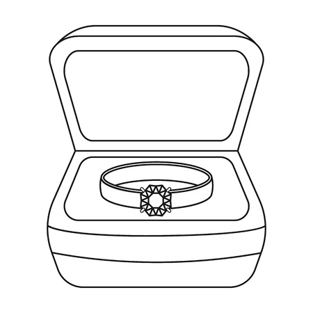 wedding ring: Ring in box icon in outline style isolated on white background. Jewelry and accessories symbol vector illustration.