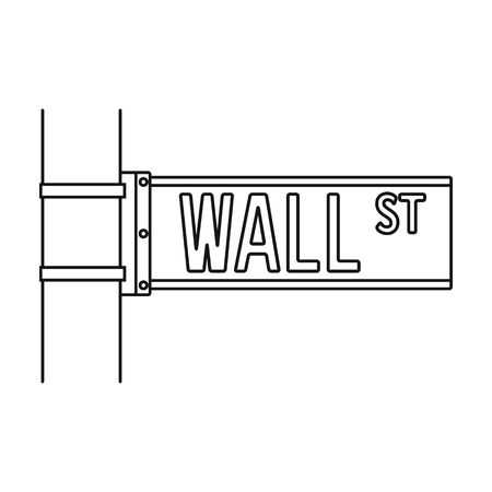 Wall Street sign icon in outline style isolated on white background. Money and finance symbol vector illustration. Illustration
