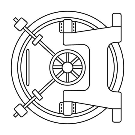 Bank vault icon in outline style isolated on white background. Money and finance symbol vector illustration. Vettoriali