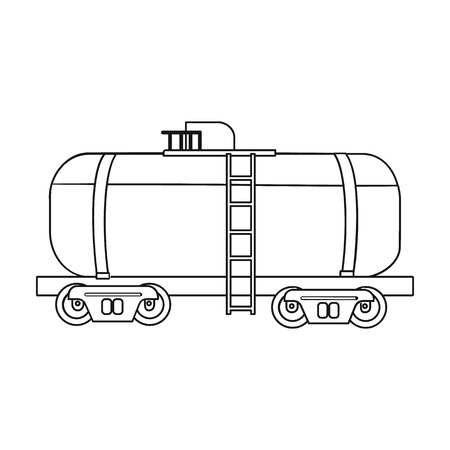 tank car: Oil tank car icon in outline style isolated on white background. Oil industry symbol vector illustration.