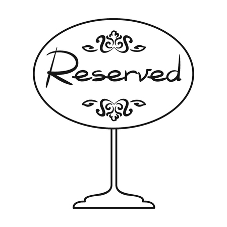 reserved seat: Restaurant golden reserved sign icon in outline style isolated on white background. Restaurant symbol vector illustration.