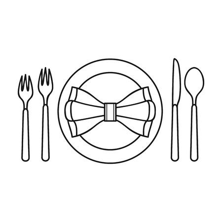 restaurant table: Restaurant table outlineting icon in outline style isolated on white background. Restaurant symbol vector illustration.