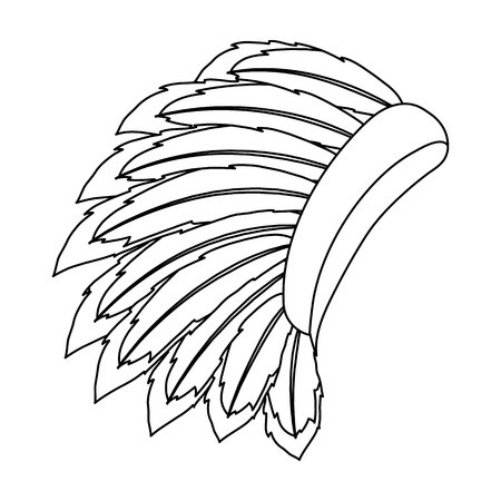 bonnet: War bonnet icon in outline style isolated on white background. USA country symbol vector illustration.