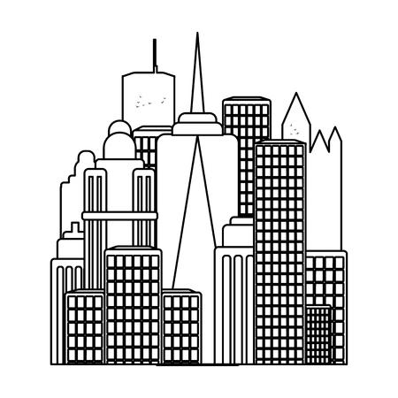 Megalopolis icoon in outline stijl op een witte achtergrond. USA land symbool vector illustratie. Vector Illustratie