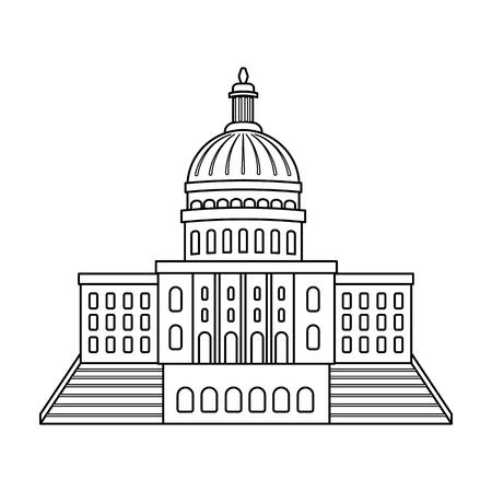 États-Unis Capitol icône style de contour isolé sur fond blanc. USA country symbol illustration vectorielle. Vecteurs