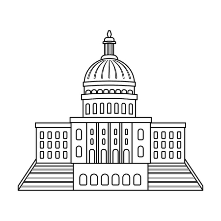 United States Capitol icon in outline style isolated on white background. USA country symbol vector illustration. Illustration