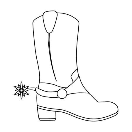 Die Stiefelikone des Cowboys in der Entwurfsart lokalisiert auf weißem Hintergrund. USA-Land-Symbol-Vektor-Illustration.