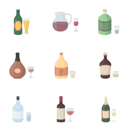 liqueurs: Alcohol set icons in cartoon style. Big collection of alcohol vector symbol stock
