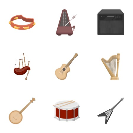 Musical instruments set icons in cartoon style. Big collection of musical instruments vector symbol stock Illustration