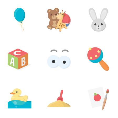 cartoon wood bucket: Toys set icons in cartoon style. Big collection of toys vector symbol stock