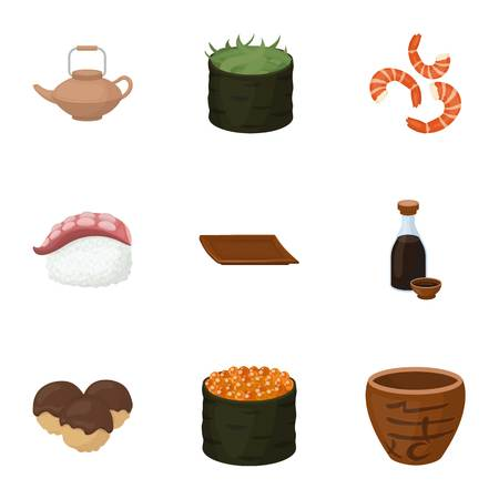 tetsubin: Sushi set icons in cartoon style. Big collection of sushi vector symbol stock