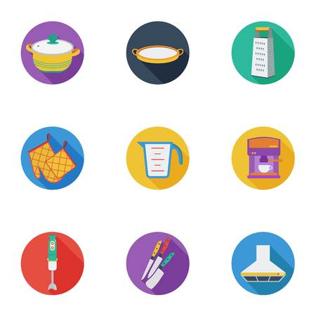 measuring cup: Kitchen set icons in cartoon style. Big collection of kitchen vector symbol stock Illustration