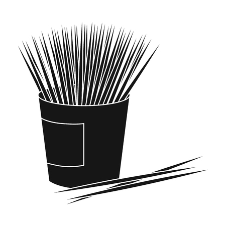 small group of objects: Toothpicks icon in black style isolated on white background. Dental care symbol vector illustration. Illustration