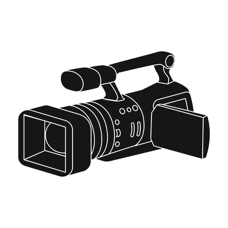 videographer: Camcorder icon in black style isolated on white background. Event service symbol vector illustration.