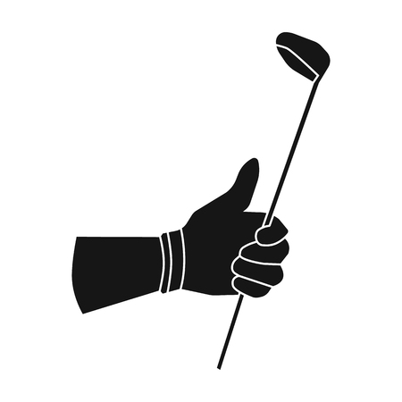 Holding of a golf club icon in black style isolated on white background. Golf club symbol vector illustration. Illustration
