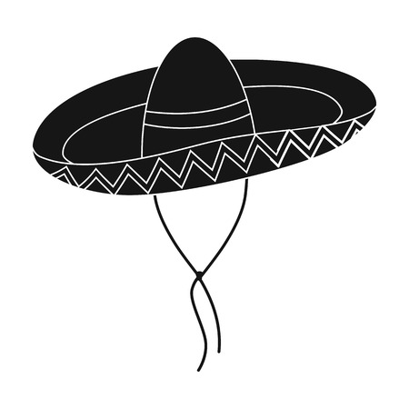 Mexican sombrero icon in black style isolated on white background. Mexico country symbol vector illustration.