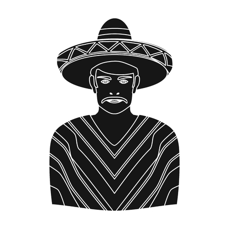 Mexican man in sombrero and poncho icon in black style isolated on white background. Mexico country symbol vector illustration.