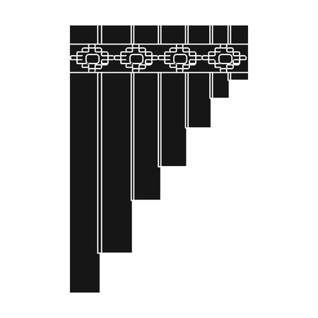 panpipe: Mexican pan flute icon in black style isolated on white background. Mexico country symbol vector illustration.