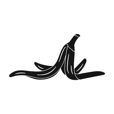 흰색 배경에 고립 된 검은 스타일 바나나 아이콘의 껍질. 쓰레기 및 쓰레기 기호 벡터 일러스트 레이 션. 일러스트
