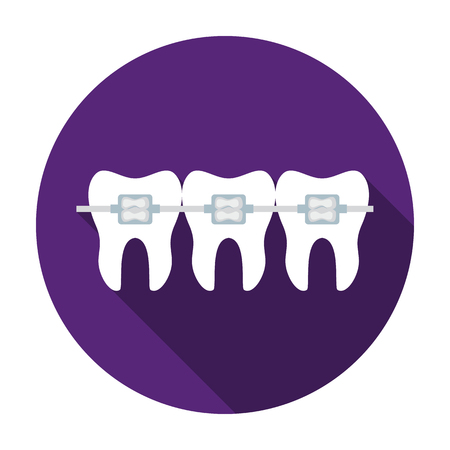 Teeth with dental braces icon in flat style isolated on white background. Dental care symbol vector illustration. Illustration