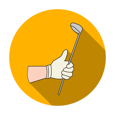 Holding of a golf club icon in flat style isolated on white background. Golf club symbol vector illustration. Illustration