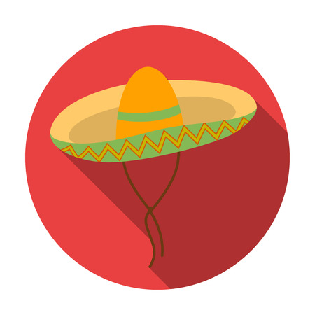 Mexican sombrero icon in flat style isolated on white background. Mexico country symbol vector illustration.