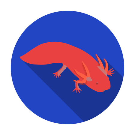 Mexican axolotl icon in flat style isolated on white background. Mexico country symbol vector illustration.