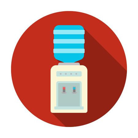 Office water cooler icon in flat style isolated on white background. Office furniture and interior symbol vector illustration.