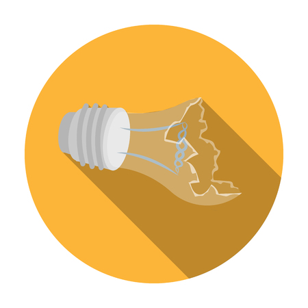 Broken lightbulb icon in flat style isolated on white background. Trash and garbage symbol vector illustration. Illustration