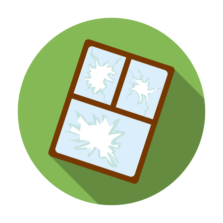 Gebroken raam icoon in vlakke stijl op een witte achtergrond. Vuilnis en afval symbool vector illustratie.