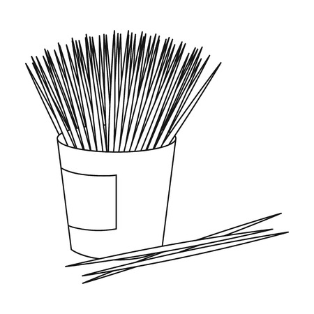 small group of objects: Toothpicks icon in outline style isolated on white background. Dental care symbol vector illustration. Illustration