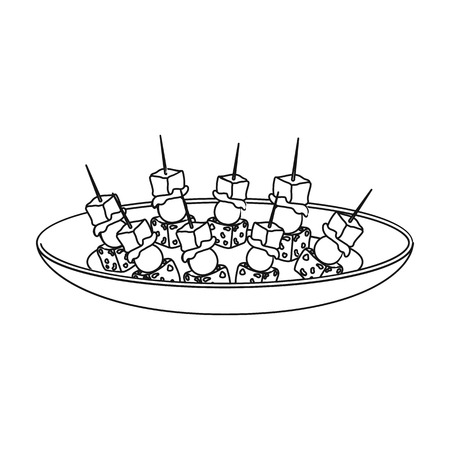 appetizers: Canape on the plate icon in outline style isolated on white background. Event service symbol vector illustration.