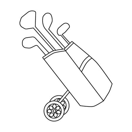 Sac de golf sur des roues avec des clubs icône dans le style de contour isolé sur fond blanc. Club de golf symbole illustration vectorielle.