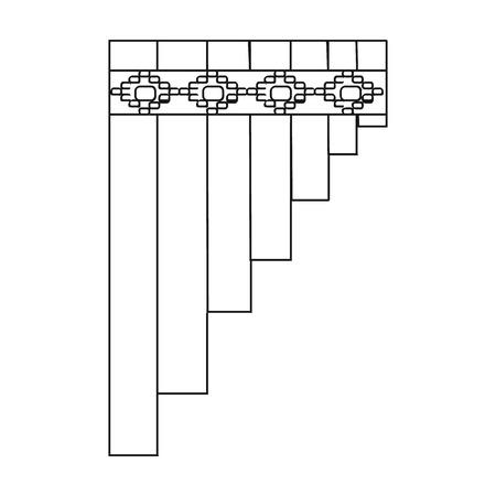 zampona: Mexicana icono de flauta de pan en el estilo de contorno aislado en el fondo blanco. ilustración vectorial símbolo del país México. Vectores