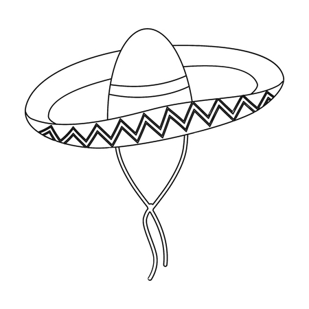 Mexican sombrero icon in outline style isolated on white background. Mexico country symbol vector illustration. Illustration