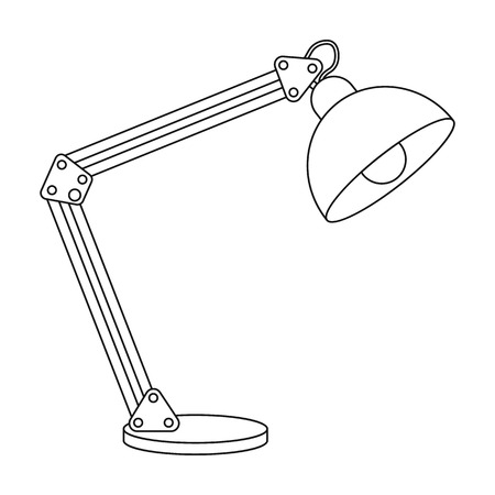 lamp outline: Balanced-arm lamp icon in outline style isolated on white background. Office furniture and interior symbol vector illustration. Illustration