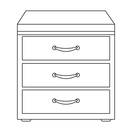 filing cabinet: Office filing cabinet icon in outline style isolated on white background. Office furniture and interior symbol vector illustration.