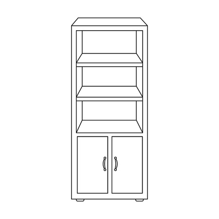 coordinated: Office bookcase icon in outline style isolated on white background. Office furniture and interior symbol vector illustration.