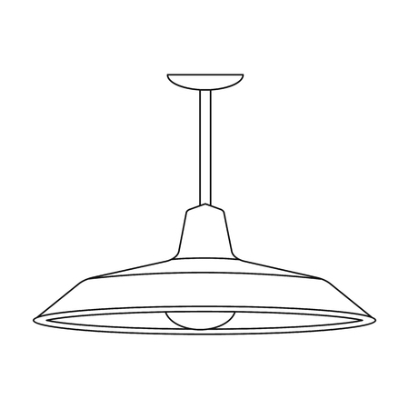 pendant lamp: Pendant light icon in outline style isolated on white background. Office furniture and interior symbol vector illustration.