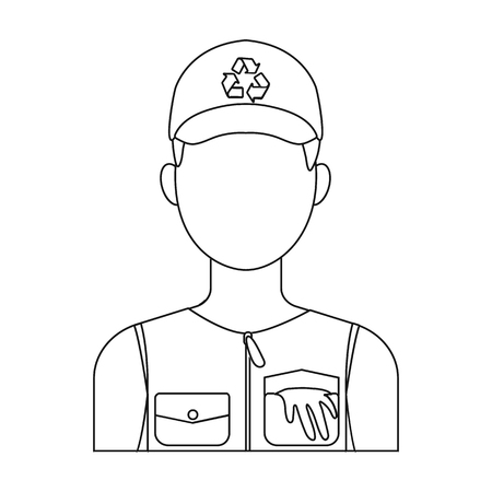 collectors: Waste collector icon in outline style isolated on white background. Trash and garbage symbol vector illustration.