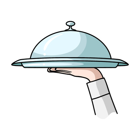 Waiters hand holding a tray with cloche icon in cartoon style isolated on white background. Restaurant symbol vector illustration.
