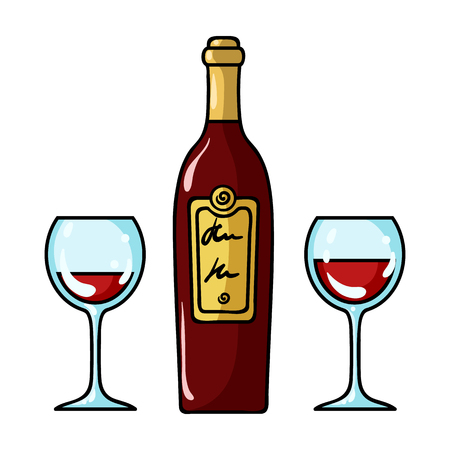 Bottle of red wine with glasses icon in cartoon style isolated on white background. Restaurant symbol vector illustration.