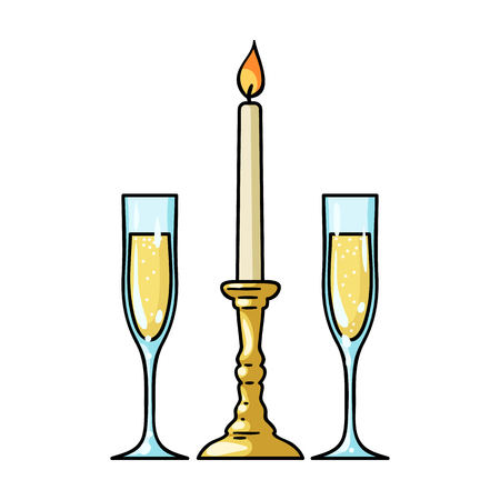 Candle between glasses with champagne icon in cartoon style isolated on white background. Restaurant symbol vector illustration.