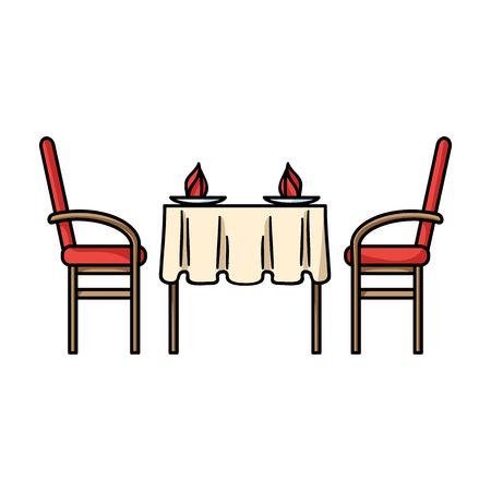 Restaurante icono de la tabla en estilo de dibujos animados aislado en el fondo blanco. Restaurante símbolo de la ilustración del vector.